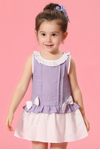366de03ff This cute kids cotton frock is possessing latest design. It is dual coloured  frock. The whole frock is plain. On neck there is white plain border over  light ...
