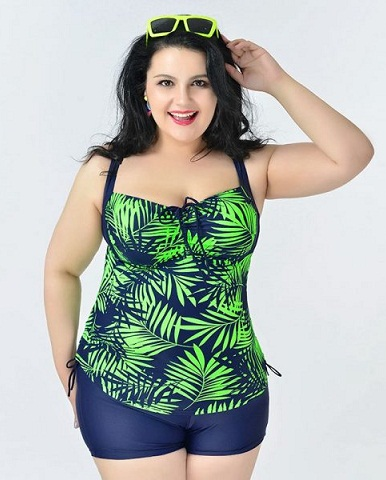 Leaf Printed Plus Size Swimwear