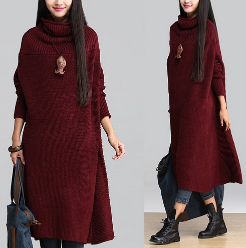Loose Winter High Collar Dress