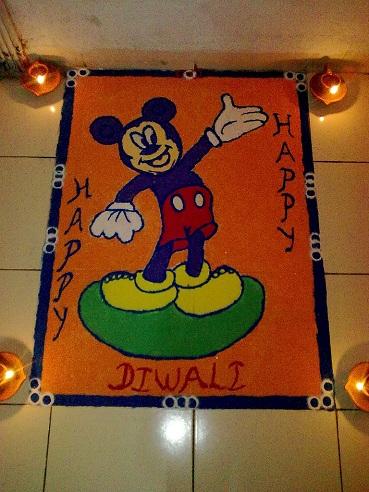 Mickey Mouse Rangoli Design for Diwali