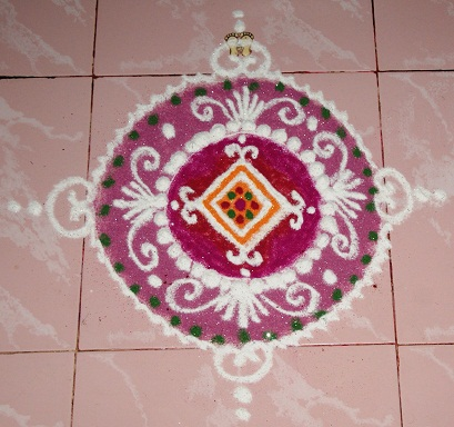 Mini Pooja Room Rangoli