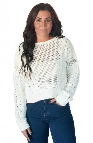 Multi Stitch Cropped Sweater