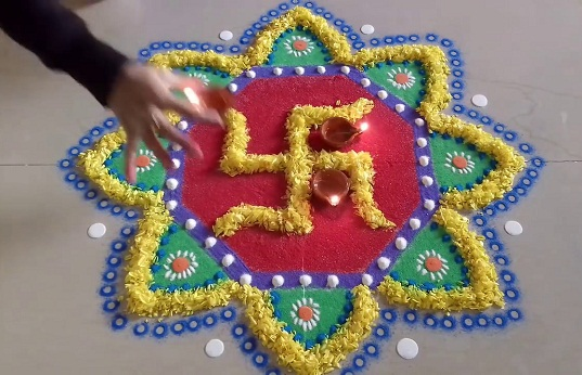 Multi-colour Swastik Rangoli