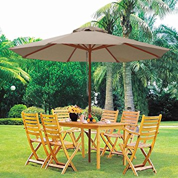 Nine Feet Wooden Table Umbrellas