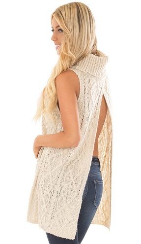 Open Back Cowl Neck Sweater