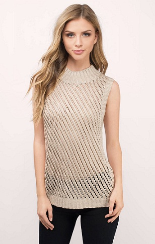 Open Knit Sleeveless Sweater