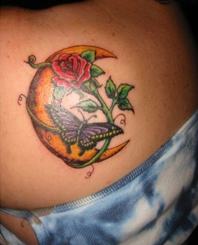 Orange Color Moon Tattoo
