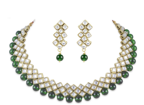 Party Wear Green Shell Pearls Set