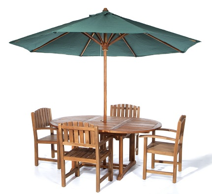 Patio Table Set with Garden Umbrellas