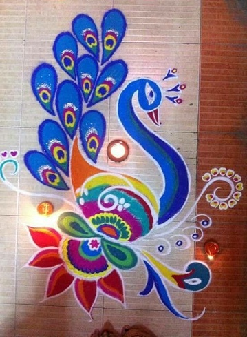 Peacock Rangoli Design for Pooja Room