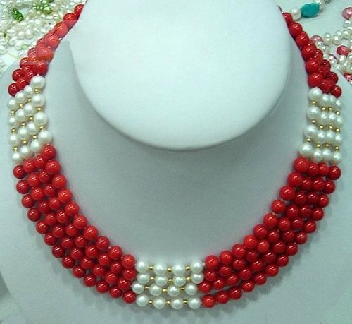 Red Coral Pearl Necklace