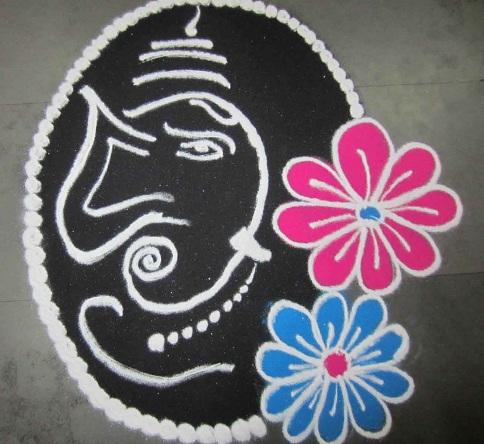 Religious White Rangoli