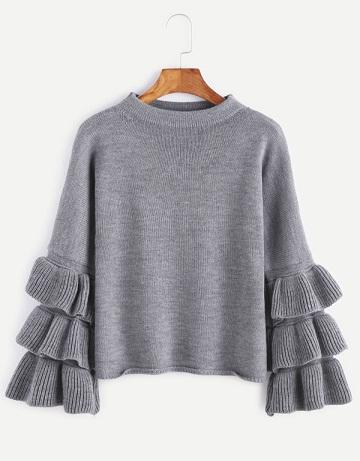 Ruffle Sleeve Pullover Sweater
