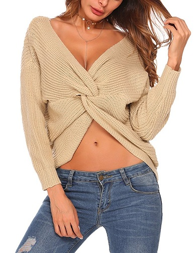 Sexy Front Knot Women's Sweater
