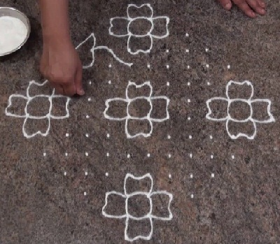Simple and Easy Flower 14 Dots Rangoli