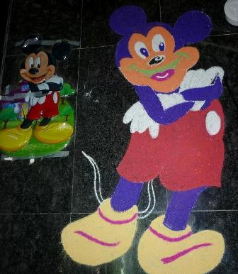 Simple Mickey Mouse Rangoli