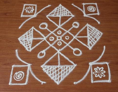 Simple Kolam 7 Dots Rangoli