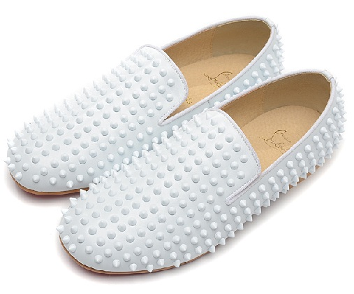 white spiked loafers