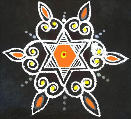 Star Rangoli Design for Ugadi