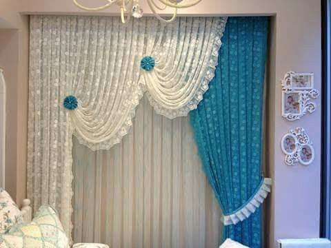 This Curtain Cloth Design Is Simply Incredible The Having Lace Pattern Of White And Blue Colour Two Step