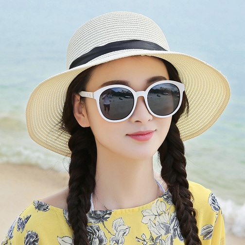 Sunshade Straw Beach Hat for Ladies