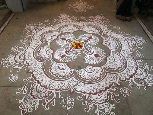 Temple White Rangoli