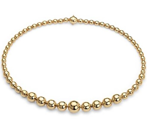 Thick Round Pearls Gold Necklace