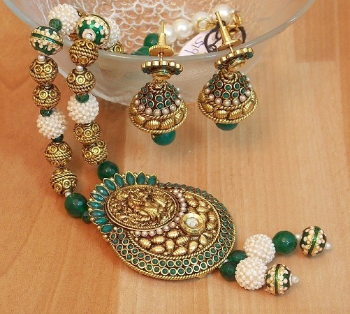 Trendy Gold Plated Green Pearl Set