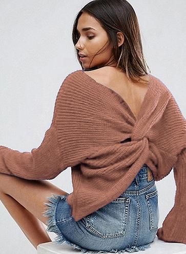 Twisted Back Women's Sweater