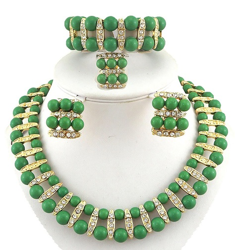 Two layers Green Pearl Jewelry Set