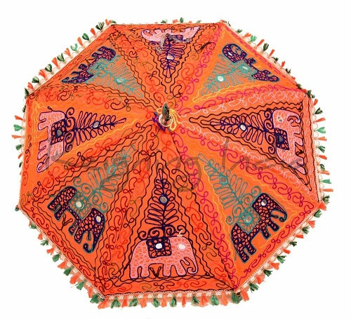 Wedding Embroidered Orange Umbrellas