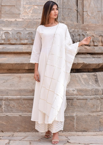 1e70a34234 This stunning white cotton salwar suit is one of the best picks in this  segment. The sober, yet sensuous Kurta is kept plain, while the salwar  comes with ...