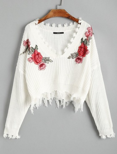 White Floral Winter Sweater
