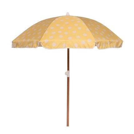 Yellow with White Polka Dots Beach Umbrella