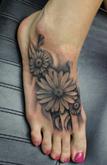 3D Daisy Tattoo Design