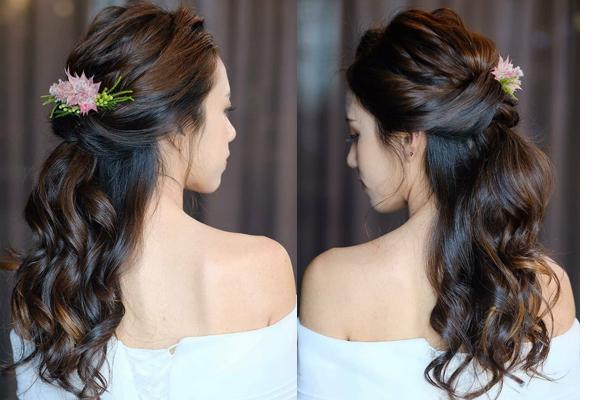 Messy Half-up Bun Hairstyle