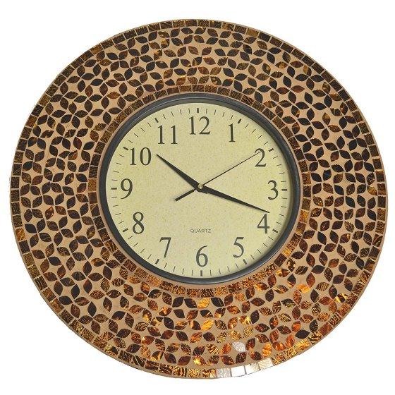 Amber Flower Mosaic Wall Clock