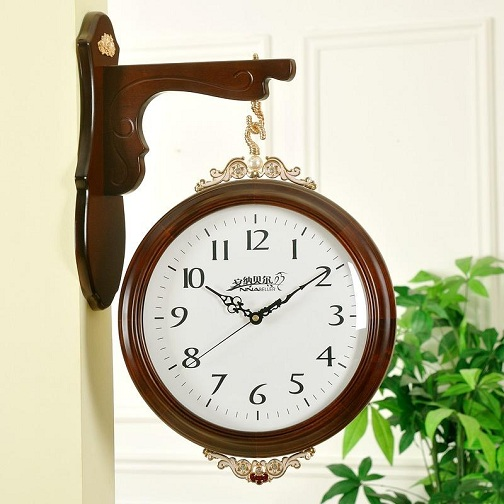 Antique Two- Sided Wooden Hanging Clock