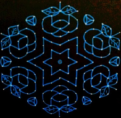 Artistic 15 Dot Rangoli Design