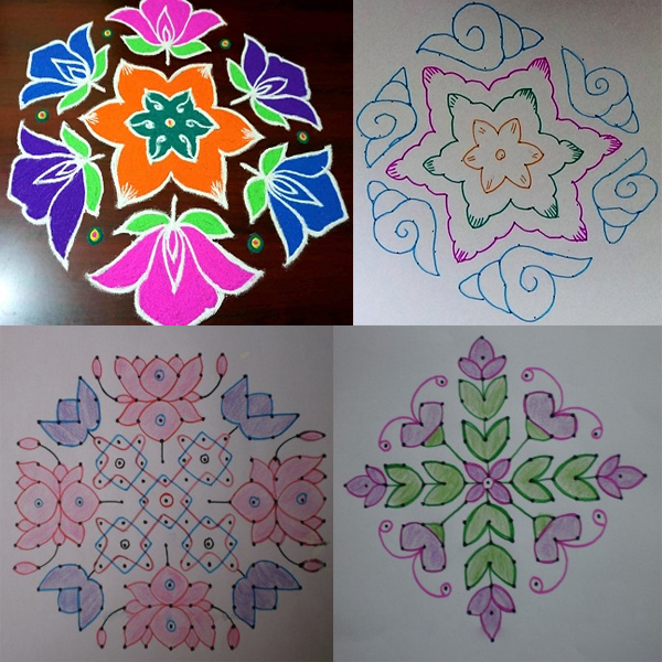 15 Dots Rangoli Designs
