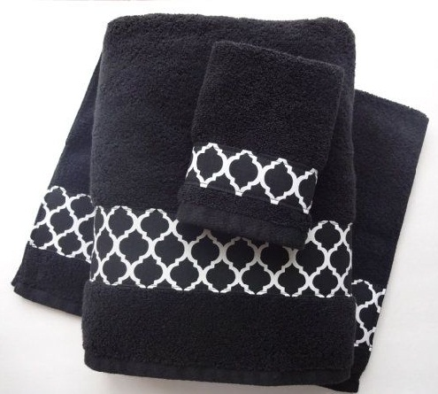 Black Bath Towels Set
