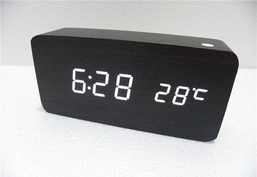 Black Wood Digital Desk Clocks