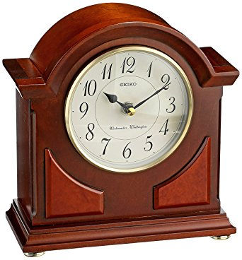 Brown Wooden Mantel Chime Clock