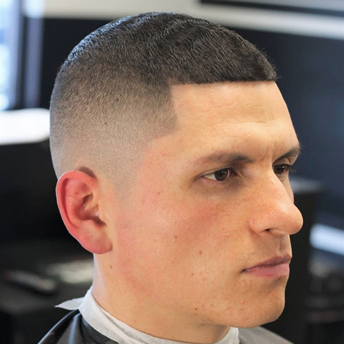 Buzz Cut with Edge Up and High Skin Fade