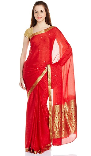 5eb131fdb18 25 Attractive Designs of Red Sarees That will Give Glam Look