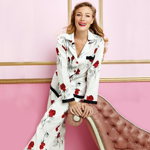 Collared Neck with Button Appliqués Pajama Set