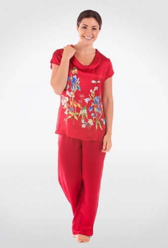 Colorful Butterfly Printed Silk Pajama Set