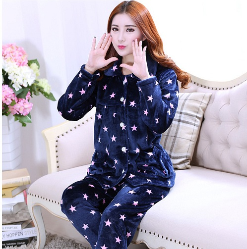 Coral Fleeced Winter Wear Pajamas