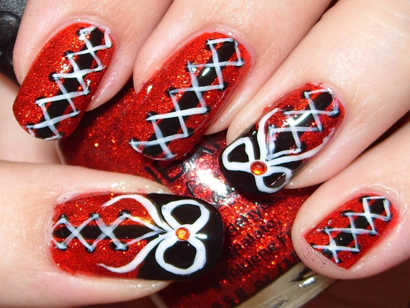 Corset Nail Art Designs with Pictures