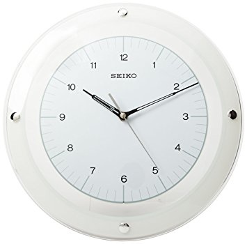 Curved Glass Crystal White Dial Clock